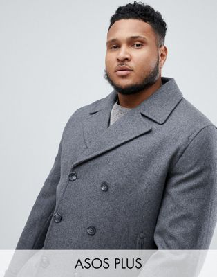 Image 1 of ASOS DESIGN Plus wool mix peacoat in light grey