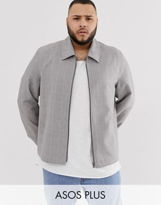Image 1 of ASOS DESIGN Plus zip through jacket in gray check