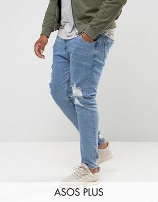 ASOS DESIGN Plusstorlek Ljusblå skinny jeans i vintagestil med stora revor och lagningar