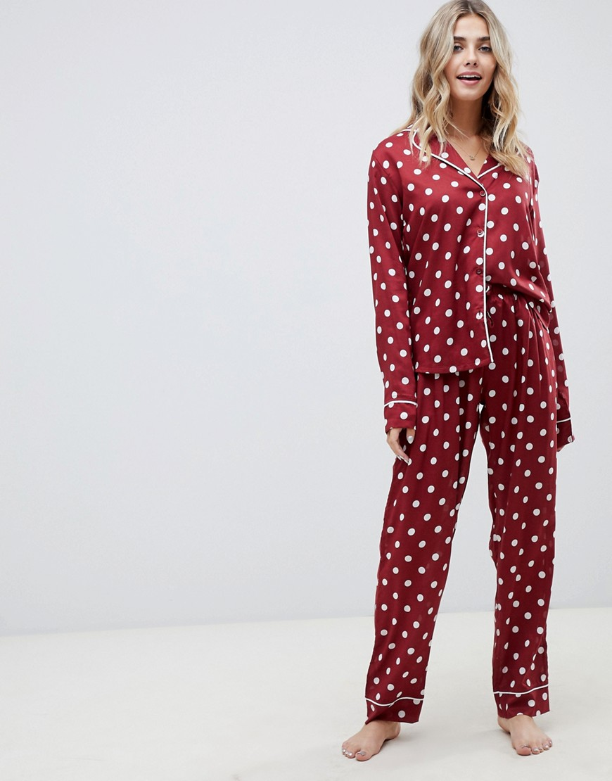 Asos Design Polka Dot Traditional 100 Percents Modal Pants Set by Asos Design