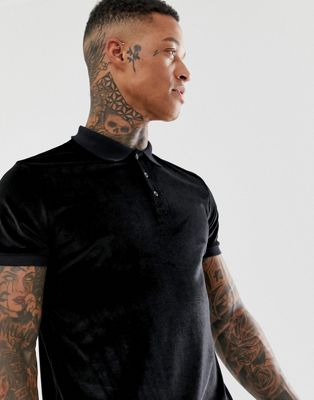 Image 1 of ASOS DESIGN polo shirt in velour in black