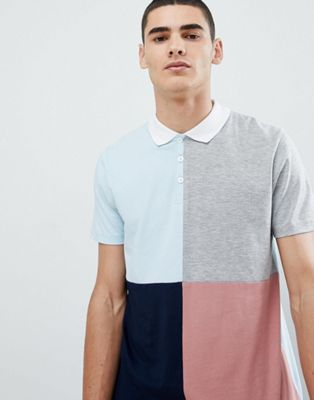 ASOS DESIGN polo shirt with color block in blue