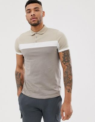 Image 1 of ASOS DESIGN polo shirt with contrast panels in beige