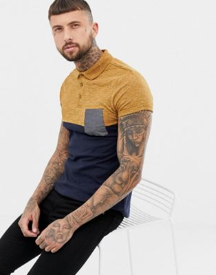 ASOS DESIGN polo shirt with contrast yoke and pocket with roll sleeve in navy