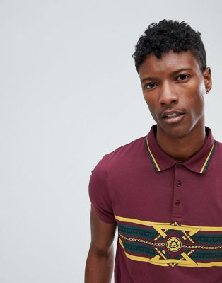 ASOS DESIGN polo shirt with emblem print and tipped collar