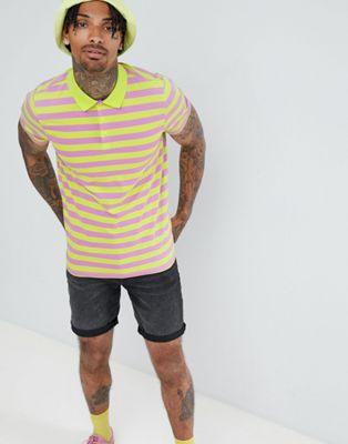 ASOS DESIGN polo with bright stripe