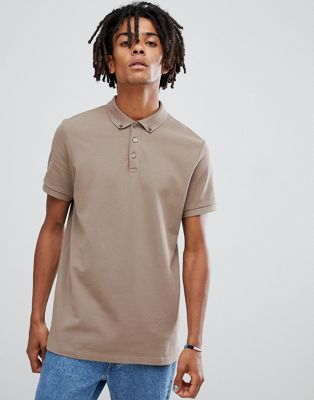 ASOS DESIGN Polo With Button Down Collar In Pique