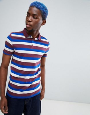 Image 1 of ASOS DESIGN polo with retro stripe