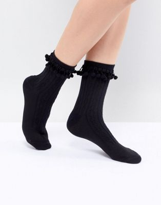 ASOS DESIGN Pom Pom Ankle Socks In Black