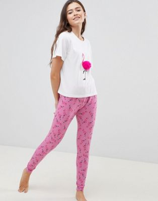 ASOS DESIGN Pompom Flamingo Tee And Legging Pj Set