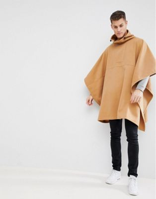 ASOS DESIGN Poncho In Camel With Toggle Fastening