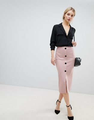 Image 1 of ASOS DESIGN ponte button front pencil skirt