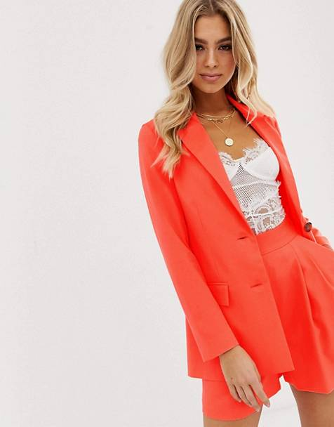 ASOS DESIGN pop coral soft suit blazer