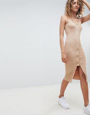 ASOS DESIGN popper front scoop neck midi dress