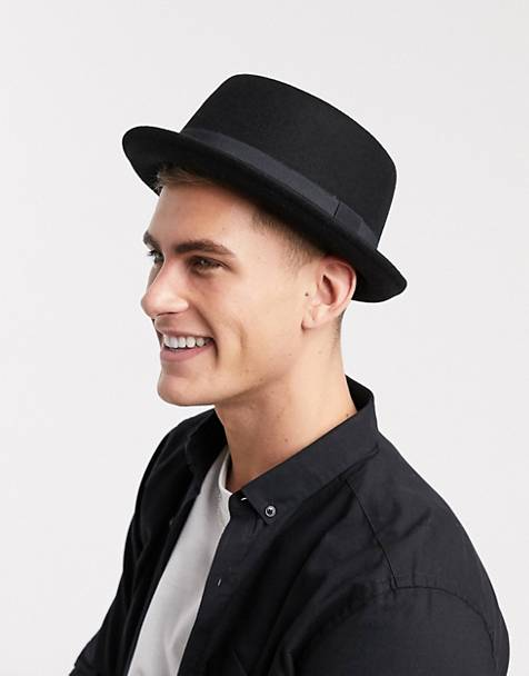 ASOS DESIGN pork pie hat in black felt 4059d9982b5