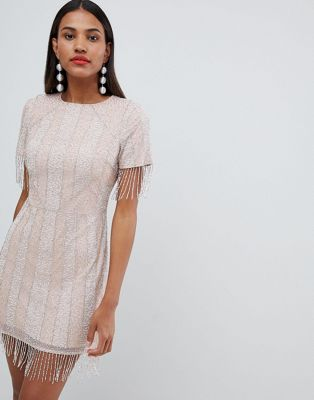 ASOS DESIGN premium delicate embellished tassle sleeve midi shift dress