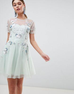 ASOS DESIGN premium embellished tulle open back mini dress
