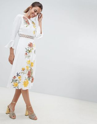 ASOS DESIGN premium embroidered midi dress with lace inserts and floral embroidery
