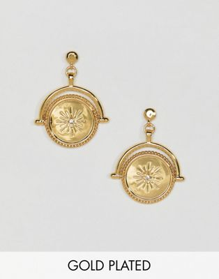 ASOS DESIGN Premium gold plated earrings with spinning coin with moon and Swarovski crystal star design