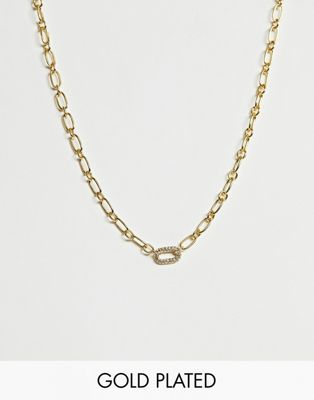 Image 1 of ASOS DESIGN premium gold plated necklace with Swarvoski crystal oval link pendant