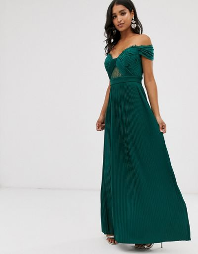 ASOS DESIGN premium lace and pleat bardot maxi dress