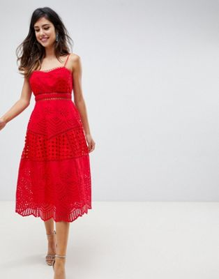 ASOS DESIGN premium lace broderie prom midi dress