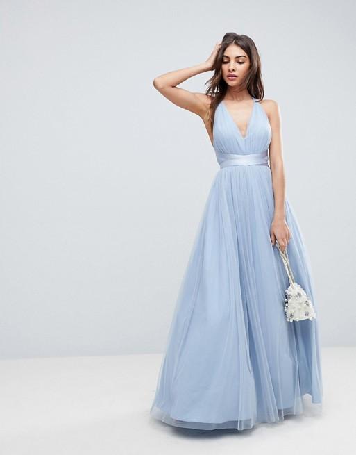 7edaddf9ac ASOS DESIGN Premium tulle maxi prom dress with ribbon ties