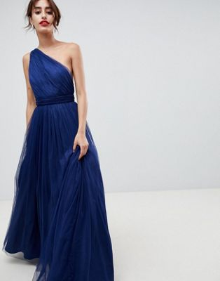 ASOS DESIGN premium tulle one shoulder maxi dress