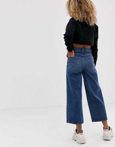 ASOS DESIGN premium wide leg jeans dark stonewash blue