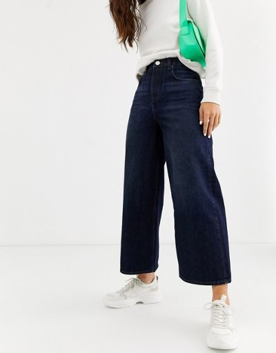 ASOS DESIGN premium wide leg jeans in blackened blue wash