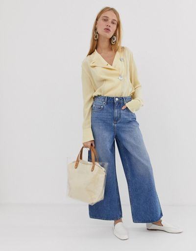 ASOS DESIGN premium wide leg jeans in mid wash blue