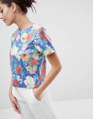 ASOS DESIGN Printed Sequin T-Shirt