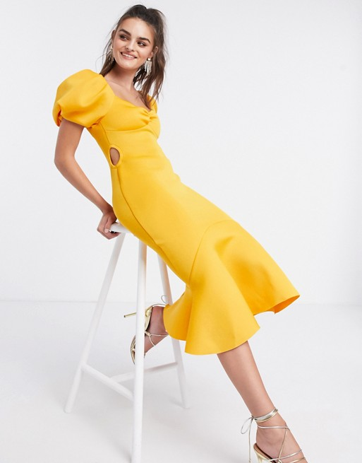 Design Puff Sleeve Side Cut Out Midi Dress In Marigold
