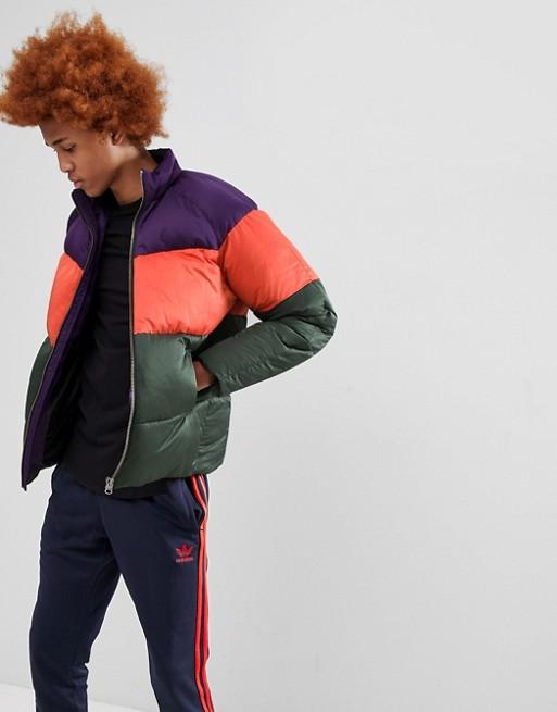 ASOS DESIGN puffer jacket in color block