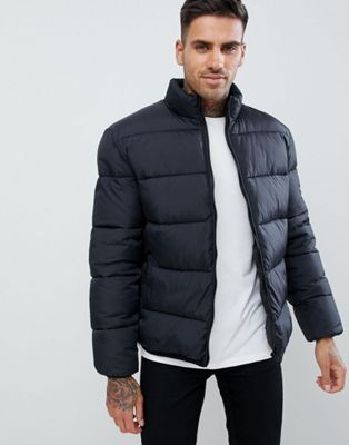 Image 1 of ASOS DESIGN puffer jacket with funnel in black