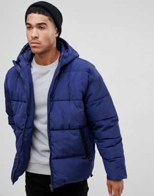 Image 1 of ASOS DESIGN puffer jacket with hood in navy
