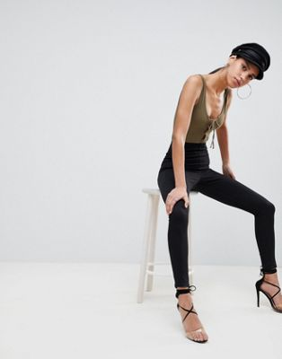 ASOS DESIGN Pull On Jegging In Black With Clean Waistband Detail