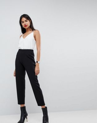 ASOS DESIGN pull on tapered black trousers in jersey crepe