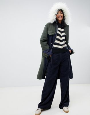 Image 1 of ASOS DESIGN quilted hybrid parka with faux fur hood