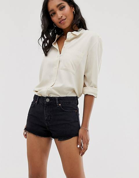 ASOS DESIGN recycled denim alvey midrise shorts in black