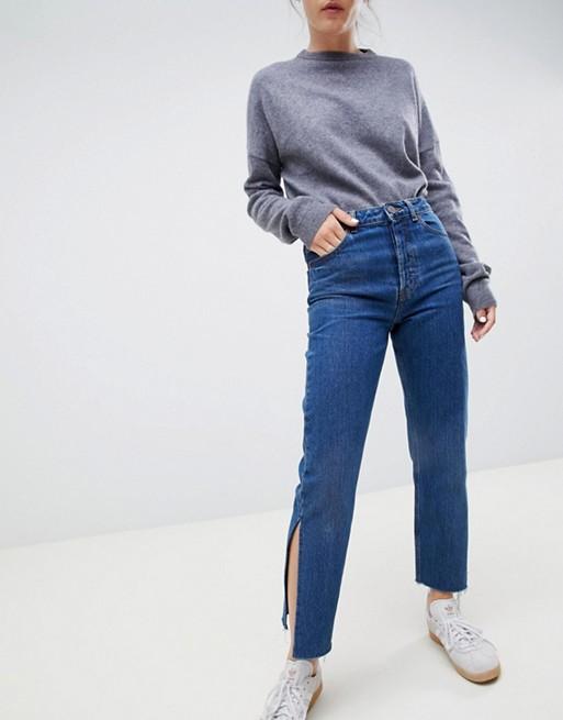 ASOS DESIGN – Recycled Florence Authentic – Gerade geschnittene Jeans in sattblauer Stone-Waschung mit Seitenschlitzen
