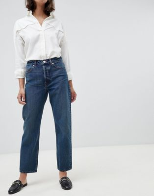 Image 1 of ASOS DESIGN Recycled Florence authentic straight leg jeans in dark stonewash blue with contrast red stitch