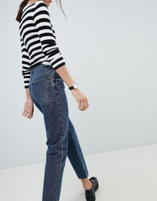 ASOS DESIGN recycled florence authentic straight leg jeans in viola deep blue wash