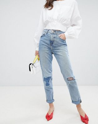 ASOS DESIGN Recycled Ritson rigid mom jeans in divinity rich mid blue wash