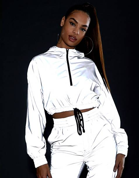 ASOS DESIGN reflective cropped tracksuit jacket