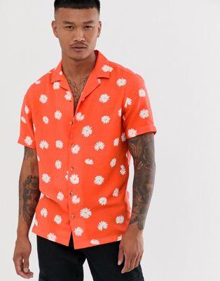 ASOS DESIGN regular fit daisy print shirt with revere collar