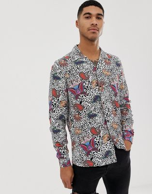 Image 1 of ASOS DESIGN regular fit shirt with mono and bright paisley