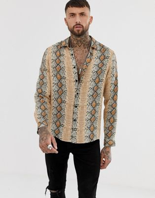 Image 1 of ASOS DESIGN regular fit snakeskin print shirt in stone