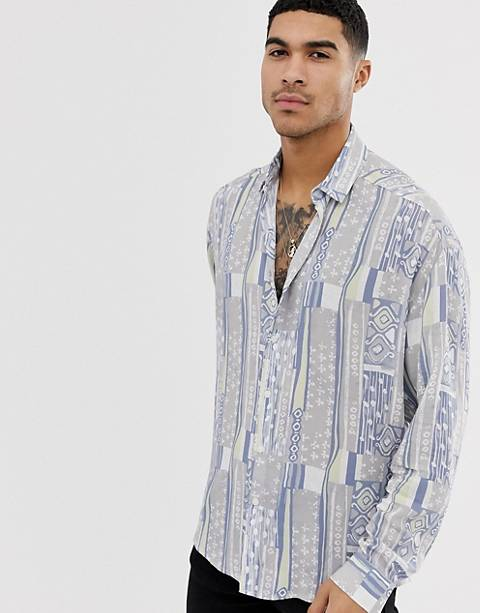ASOS DESIGN regular fit vintage style shirt in gray and blue