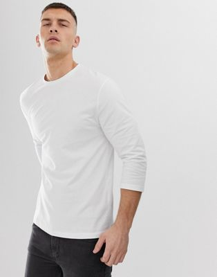 Image 1 of ASOS DESIGN relaxed 3/4 sleeve t-shirt with crew neck in white